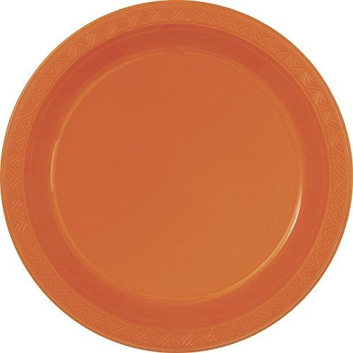 UNIQUE PARTY 32072 - 23cm Orange Plastic Plates, Pack of 8 -