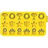 "Siliconezone Chocochips Collection 8.9"" Non-Stick Silicone Champion Chocolate Mold, Yellow"