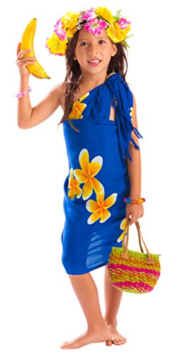 1 World Sarongs Girls Mini Plumeria Sarong in Blue/Yellow (Best Looking Kd 6)