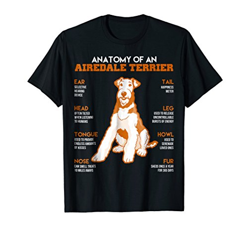 Anatomy Of An Airedale Terrier Dogs T Shirt Funny Gift
