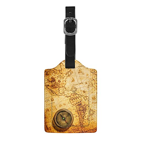 FINCIBO 1 Piece - Leather Luggage Bag Tag with Privacy Label Flap for Travel Suitcase Baggage Luggage, Vintage Old World Map Compass ()