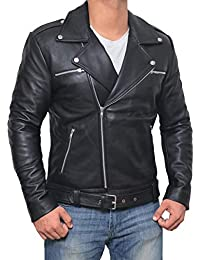 Motorcycle Jackets for Men - Black Slim Fit Biker Leather Jacket Mens