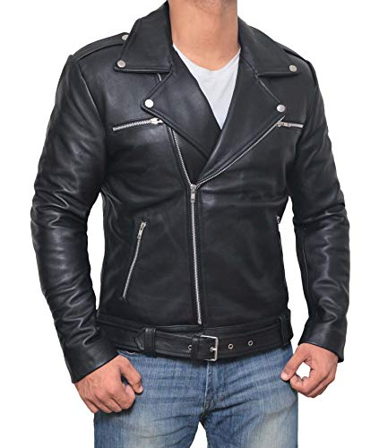 Decrum Black Leather Jacket for Men - Asymmetrical Police Style Leather Motorcycle Jacket | [1100054] Negn, L