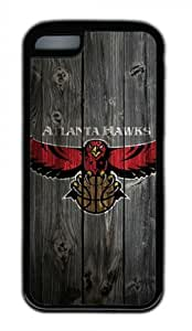 Atlanta Hawks Wood Iphone 5C Black Sides Rubber Shell Case by eeMuse