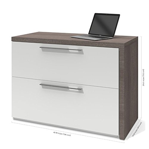 Bestar Furniture 43400-47 Small Space Sliding Computer Desk in Bark Gray and - Bestar Computer Desk