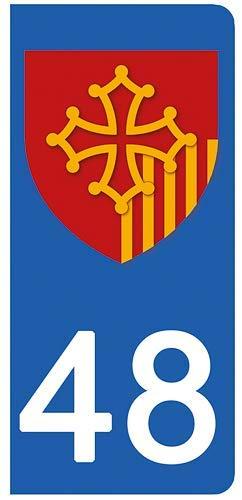 DECO-IDEES Lot de 2 Stickers pour Plaque d'immatriculation, 48 Lozè re, Ré gion OCCITANIE 48 Lozère Région OCCITANIE