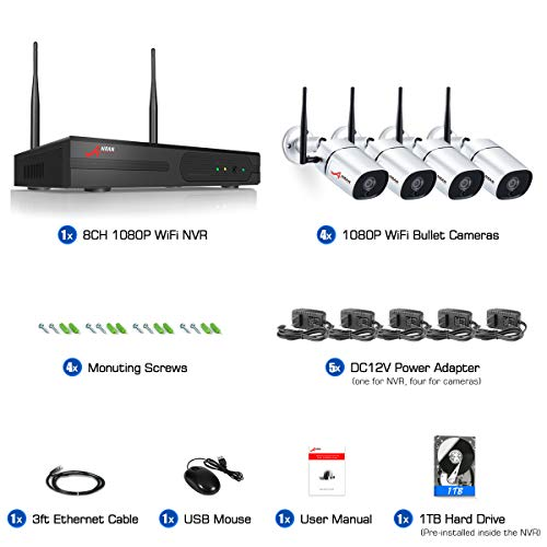 [8CH Expandable 1TB HDD Pre-Install ] ANRAN 1080P Wireless Security Camera System, 4Pcs Outdoor Indoor WiFi Surveillance IP Cameras with HD Video,Night Vision Weatherproof,Motion Detection,Remote View