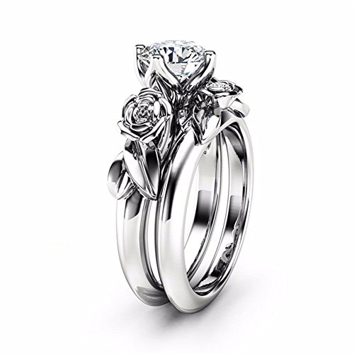 TEMEGO White Gold Bridal Sets Wedding Rings, Vintage Flower Leaf Cushion CZ Solitaire Rings, Size (Comfort Fit Solitaire Setting)