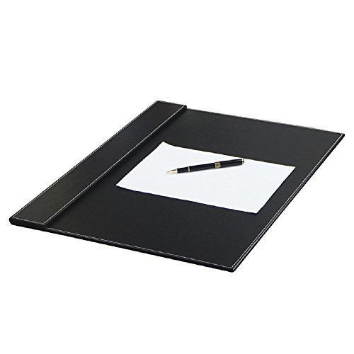 Executive computer desk pad-stylish mat cover provides perfect writing surface-premium pads made of leather for laptop with top rail to attach paper or calendar-color black size 24X18 inches
