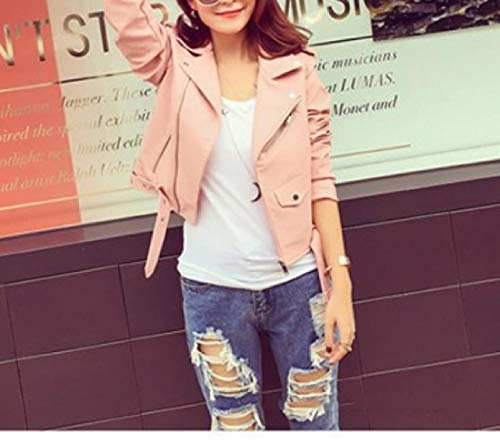 Trench Coat Pink Jacket Outwear Zipper Women's PU Closure Mogogo Biker Mini wqnSxYP0PO