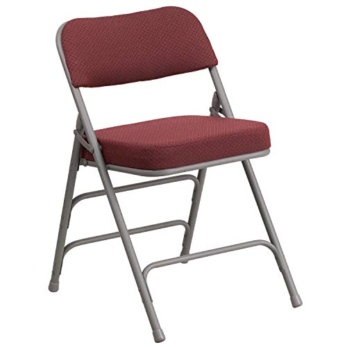 Flash Furniture HERCULES Series Premium Curved Triple Braced & Double Hinged Burgundy Fabric Metal Folding Chair - Padded Folding Chair