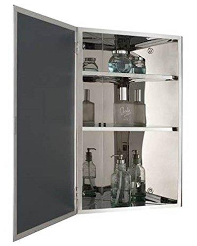 Mirror Cabinet Corner - Bellaterra Home 801102-MC Stainless Steel Corner Mirror Cabinet