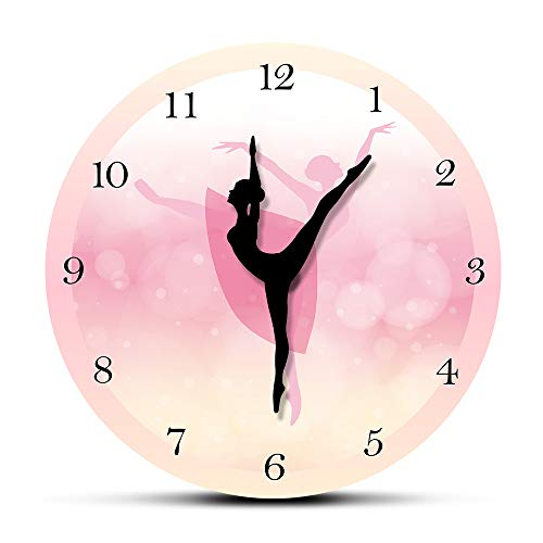 GUABOHHY Girl Bedroom Decor Ballet Girl Princess Pink Wall Clock Baby Girl Dancing Wall Clock Ballerina Moving Leg Dancing Clock Watch