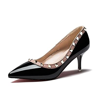 Ryse Women's Fashionable Rivet Delicate Temperament Classic High Heels Pointy Shoes