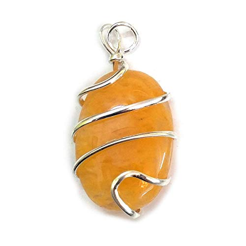 Reiki Crystal Products Citrine Natural Stone Pendant Wire Wrapped Oval Pendant Semi Precious Stone Pendants for Unisex ()