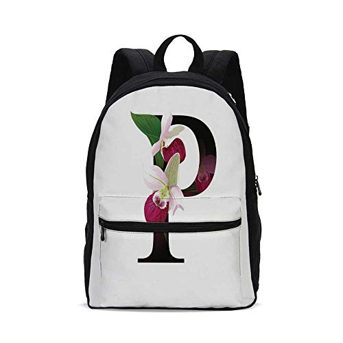 Letter P Fashion Canvas printed Backpack,Lady Slipper Flower with Dark Colored Letter P from Alphabet ABC Print Decorative for - Womens 09 Footwear