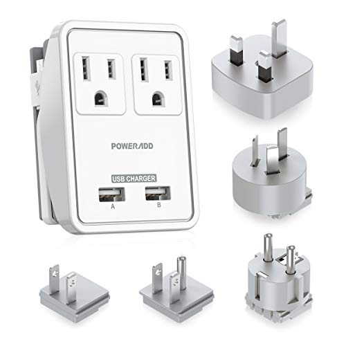 POWERADD Travel Adapter Kit - Dual USB Ports + 2 Outlets, Universal Adapters for UK, US,Japan,China, Europe, Asia, Cruise Ship Travel, Perfect for Cellphone Laptop Camera and More - UL Listed