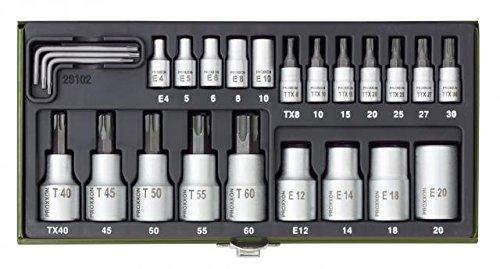 Proxxon 23102 Coffret cl/és /à douille Torx 23 pi/èces 1//2 et 1//4 Import Allemagne