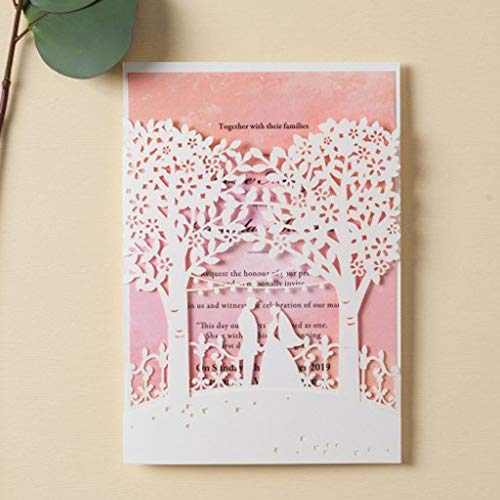 (Jofanza Wedding Invitations Cards with White Laser Cut Bride and Groom Tree Printable Pink Inner Card for Marriage Birthday Party Bridal Shower (1 Piece Sample))