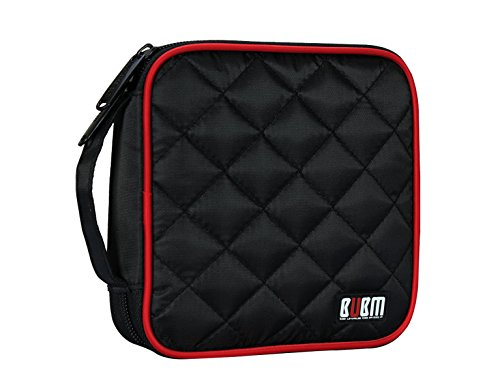 CD DVD VCD Wallet Case,BUBM Portable 32 Capacity Storage Organizer Heavy Duty Travel Bag Holder for Car,Home Storage,Office,2-Year Warranty(Black)