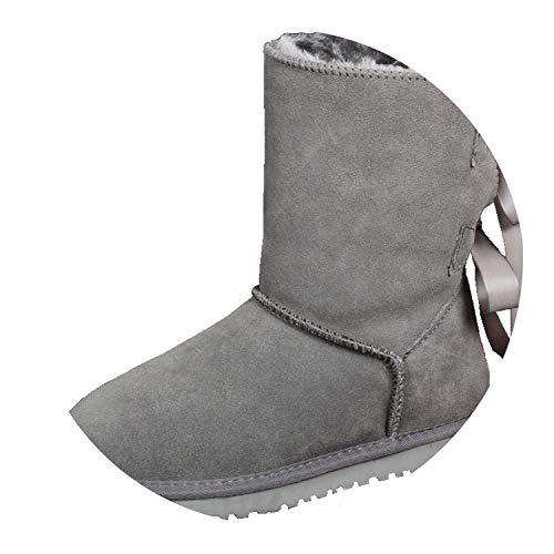 Women Winter Genuine Leather Boots Bow Riband Shoes Snowboots with Fur Warm Botas,Gray,10 ()