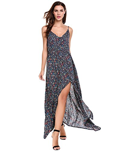 ACEVOG Womens Button Up Split Floral Maxi Dress Print Flowy Blackless Strap Sundress