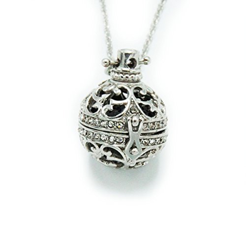 Sier Filigree Rhinestone Aromatherapy Perfume Essential Oil Diffuser Necklace Locket Lava Stone (Black) (Oil Sier)