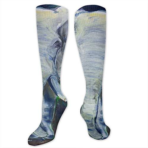 Stretch Socks Elephant Oil Painting Soccer Socks Over The Calf Cool For Running,Athletic,Travel,Pregnancy