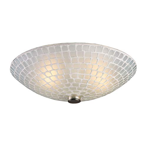 Elk 10139/2WHT Fusion 2-Light Semi-Flush In Satin Nickel and White Mosaic (Fusion Ceiling Light)