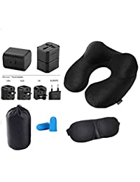 Inflatable Neck Pillow Kit with Eye Mask Earplugs and International Electrical Plug Adapter