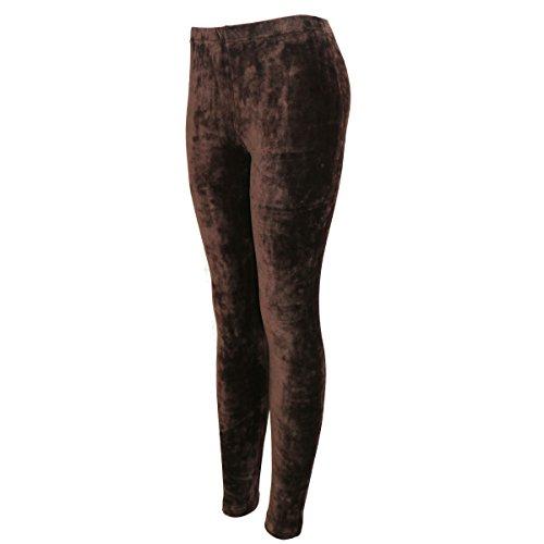 Pants Brown Velour (Women's Shinny Velvet Leggings - Comfortable Ultra Soft Fashion Pants - Elastic Waist Band - Multi-Purpose Comfy Fit Wear - Stretch Skinny Leggings for Winter & Cold Seasons, Dark Brown S/M)