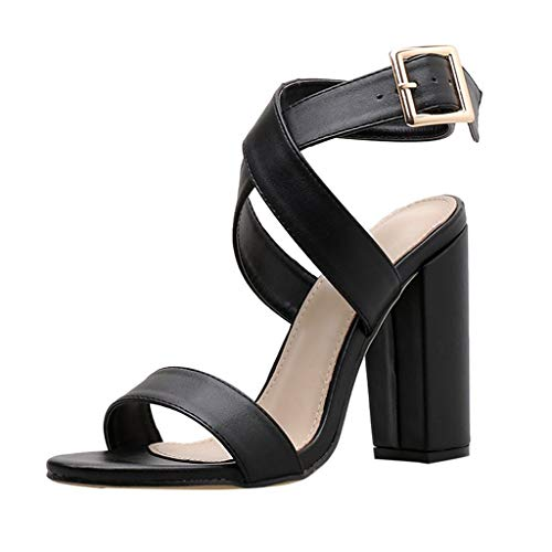 Women Open Toe Buckle Sandals Shallow Thick Heel Shoes Sexy Wedding Footwear Heels Sandals for Women Girls Sexy Black