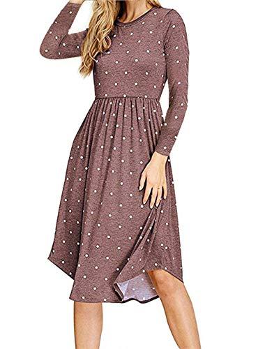 (AMCLOS Women Pleated Polka Dot Pocket Swing Casual Midi T Shirt Dress Long Sleeve (Coffee,)