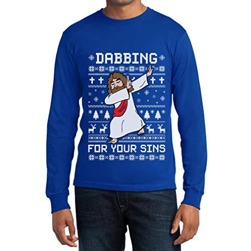 Blu For Gesù Uomo Lunga Dab Sins Shirtgeil Christmas Ugly Maglia Dabbing Manica Your pZnqqHR75