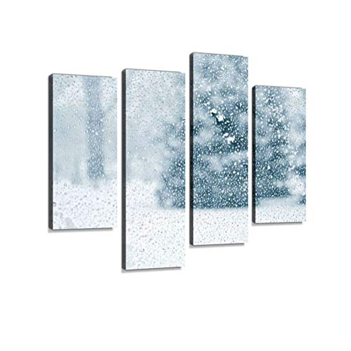Wintery Forest Through Wet and Snowy Glass Canvas Wall Art Hanging Paintings Modern Artwork Abstract Picture Prints Home Decoration Gift Unique Designed Framed 4 Panel ()