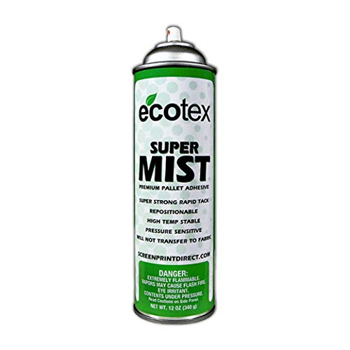 Ecotex - Super Mist - Premium Spray Pallet Adhesive for Screen Printing Restickable Fabric Glue - 12 Ounce Can