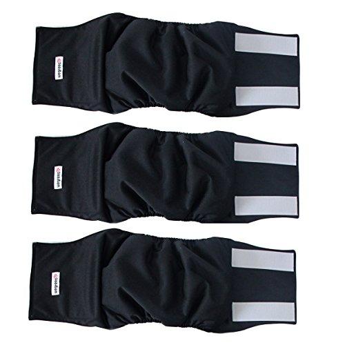 Wegreeco Washable Male Dog Belly Wrap - Pack of 3 - (Black,Large)