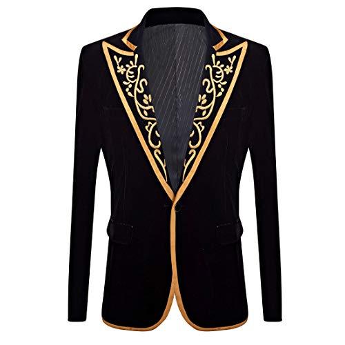 PYJTRL Mens Fashion Royal Court Velvet Embroidery Blazer (Black, US -
