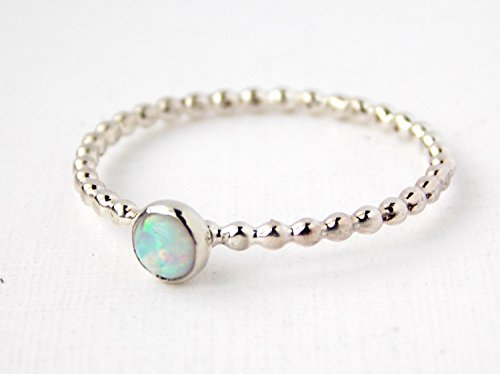 Opal Beaded Cab Ring: stackable birthstone ring, sterling silver ring, opal ring, simple ring, dainty ring, dotted ring, October birthstone