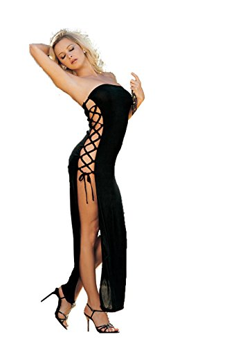 Slinky, Sexy Dress with Lace-up Sides (One Size, Black)