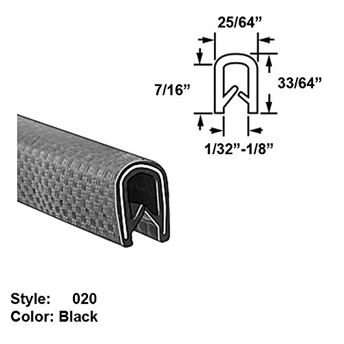 Heavy Duty Vinyl Plastic U-Channel Push-On Trim, Style 020 - Ht. 33/64'' x Wd. 25/64'' - White - 25 ft long