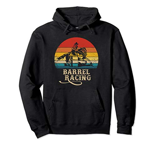 Vintage Rodeo Barrel Racing Horse Riding Retro Sunset Pullover Hoodie ()