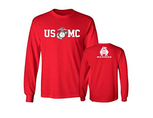 9245cd5061 Lucky Ride Marine Corps Bull Dog Front and Back USMC Men's T-Shirt  Longsleeve,