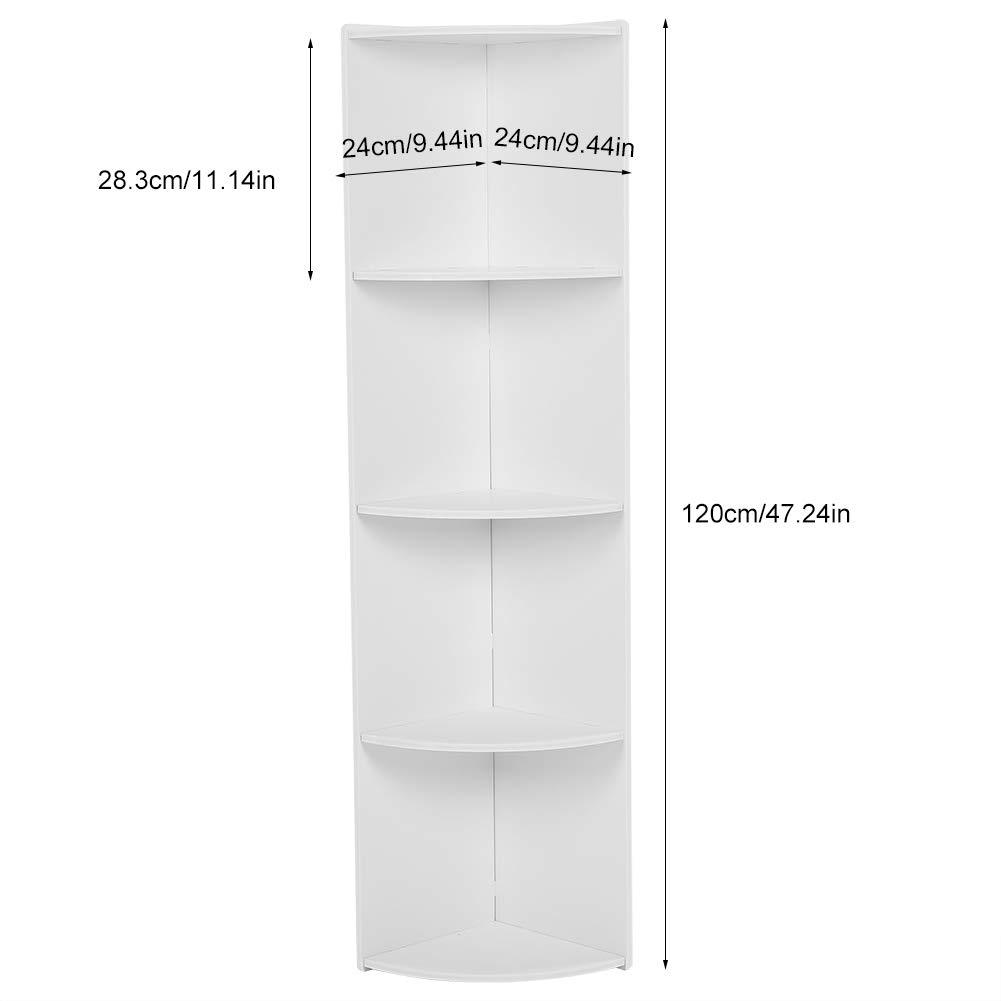 Narrow Bathroom Storage 4 Tier Wooden Standing Corner Cabinet Tall Cupboard Bathroom Bedroom Tallboy Storage Rack Organiser White 120 X 28 3 X 24 Cm Corner Shelf Unit Home Garden Store Racks Shelves Drawers