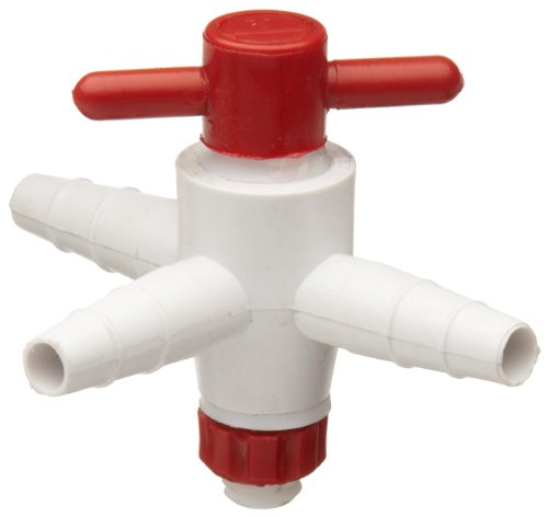 Bel-Art Three-Way Stopcock for ¼ in. to ⅜ in. Tubing; 4mm Bore, PTFE (F30895-0000) (3 Way Valve Plug)