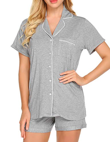 Ekouaer Lounge Set Women's Soft Cotton Sleepwear Short Sleeve Pajamas Shirt with Pj Shorts (Grey,XL)