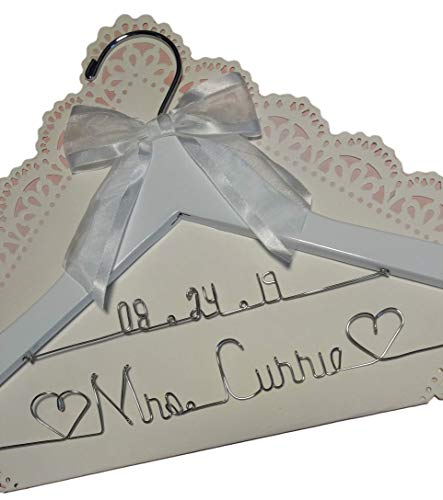Bride Wedding Dress Hanger - White or Dark Hanger with notches - choice of 12 Bow Colors - Personalized Bride Name Silver wire - With or Without Wedding date, Bride ()