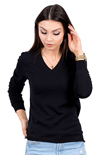 KNITTONS Women's Wool Classic Slim Fit V-Neck Sweater Pullover (Medium, (Washable Wool Rib)