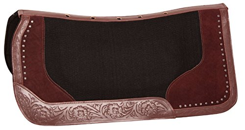 AceRugs Therapeutic Wool Felt Western Horse Saddle Pads Size 32X32 Hand Tooled Leather Trim - Pad Blanket Saddle Horse