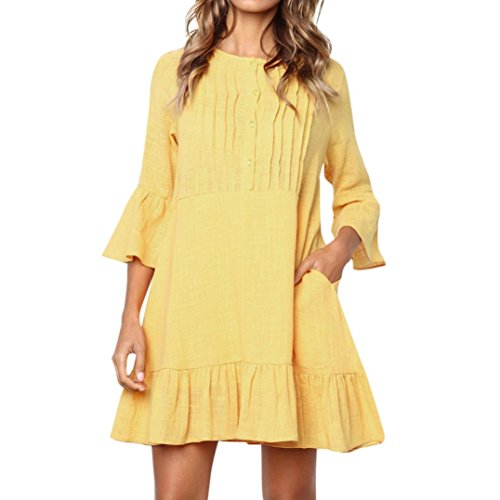 (iQKA Women Elegant Solid Button O Neck Flare Long Sleeve Casual Pleated Mini Dress(Yellow ,Small)